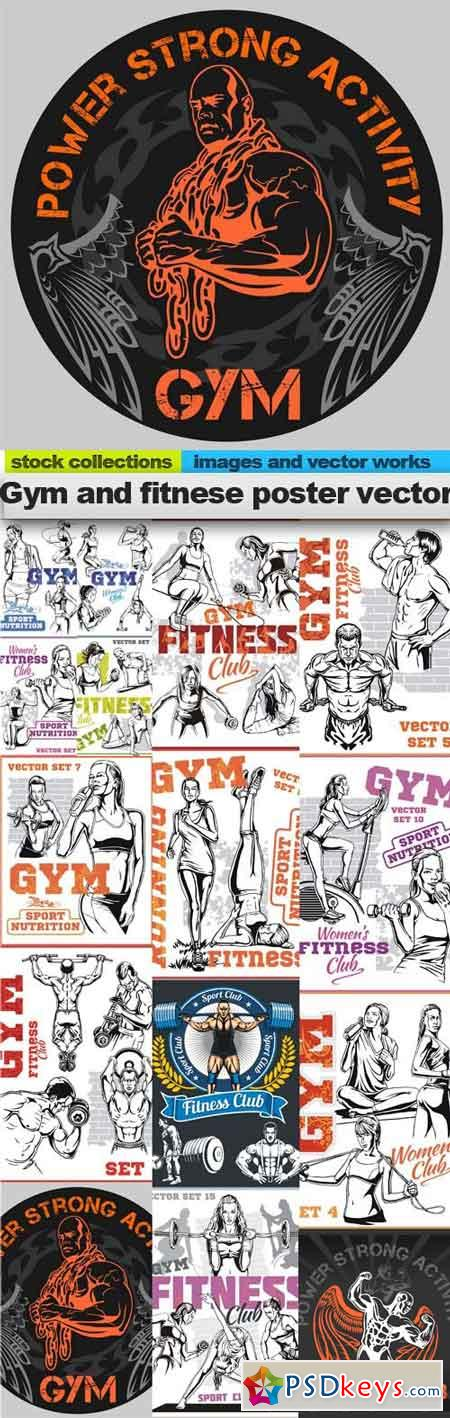 Gym and fitnese poster vector, 15 x EPS