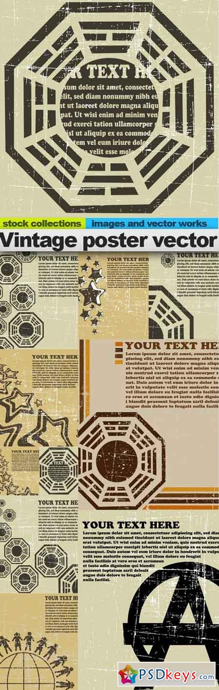 Vintage poster vector, 10 x EPS