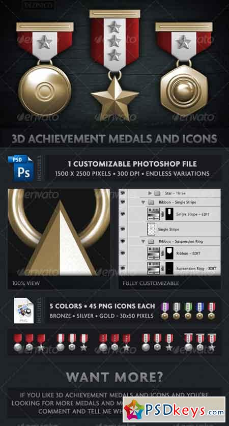 3D ACHIEVEMENT MEDALS AND ICONS (CUSTOMIZABLE) 110375