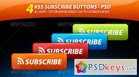 4 Clean'n' GLossy - RSS Subscribe Buttons Pack 68373