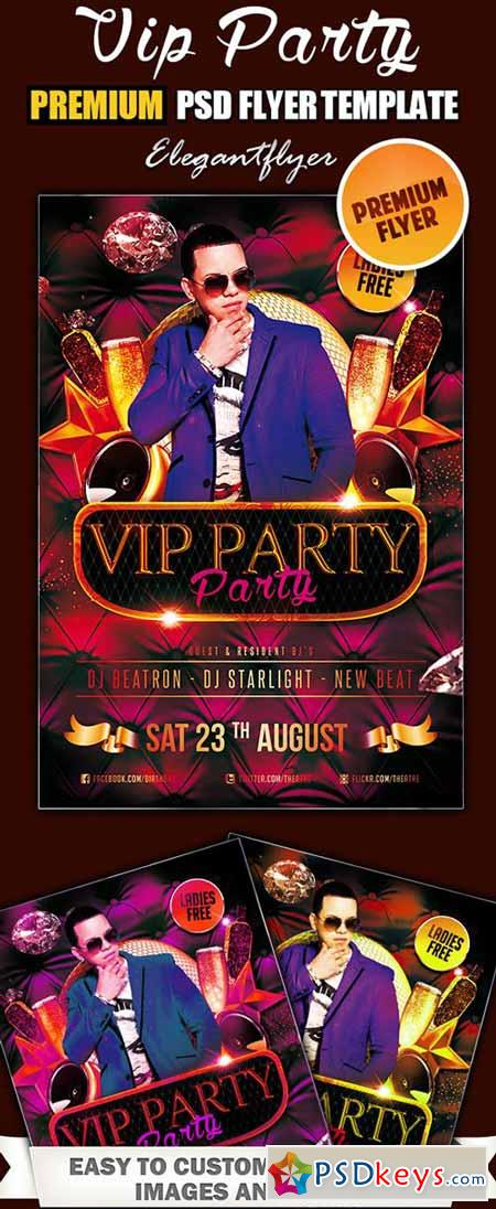 VIP Party Premium PSD Flyer + Facebook Cover