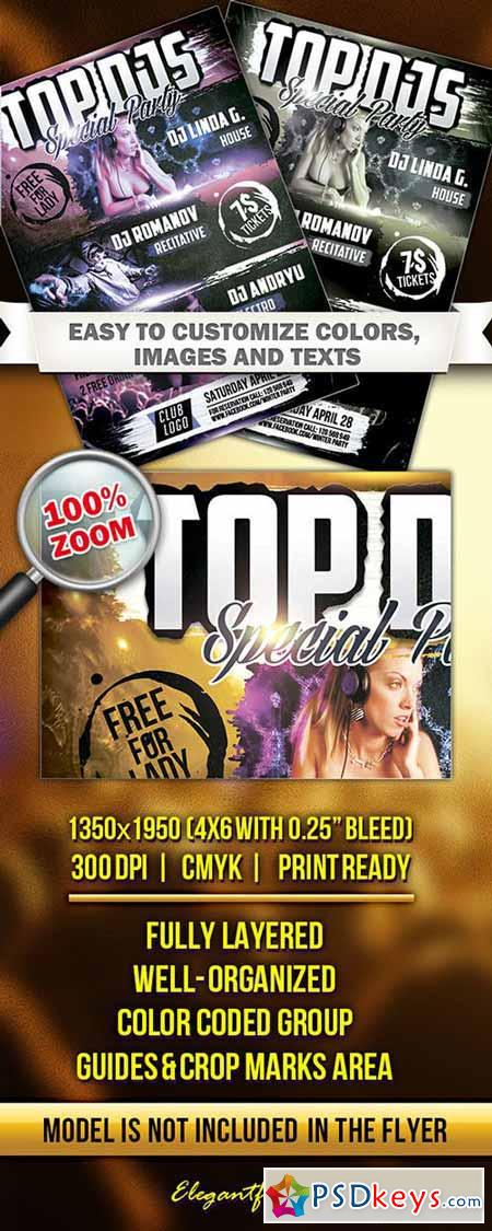 Top DJS Special Party Flyer PSD Template + Facebook Cover