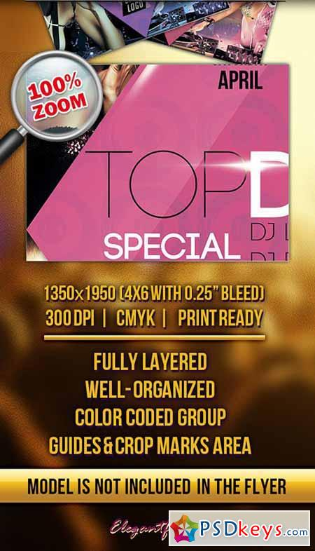 Top DJS Special Party 2 Flyer PSD Template + Facebook Cover