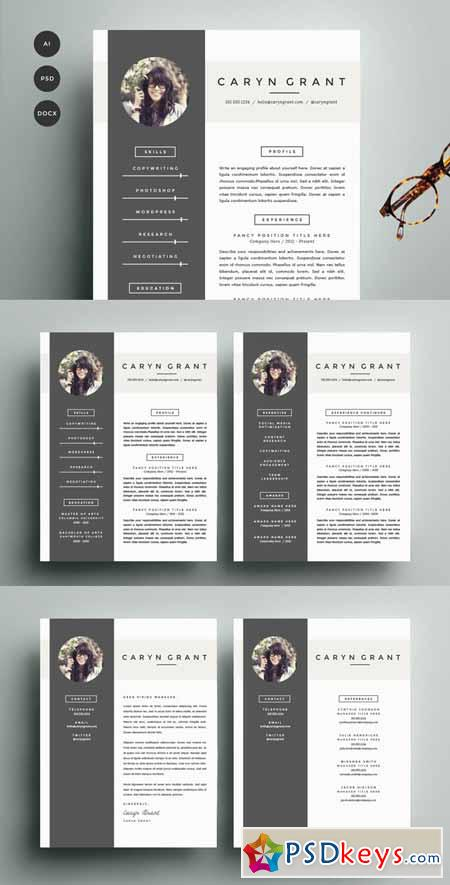 resume template 4 pack cv template 140531  u00bb free download photoshop vector stock image via