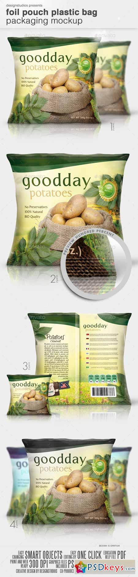 Foil Pouch Plastic Bag Packaging Mock-Up 10545171