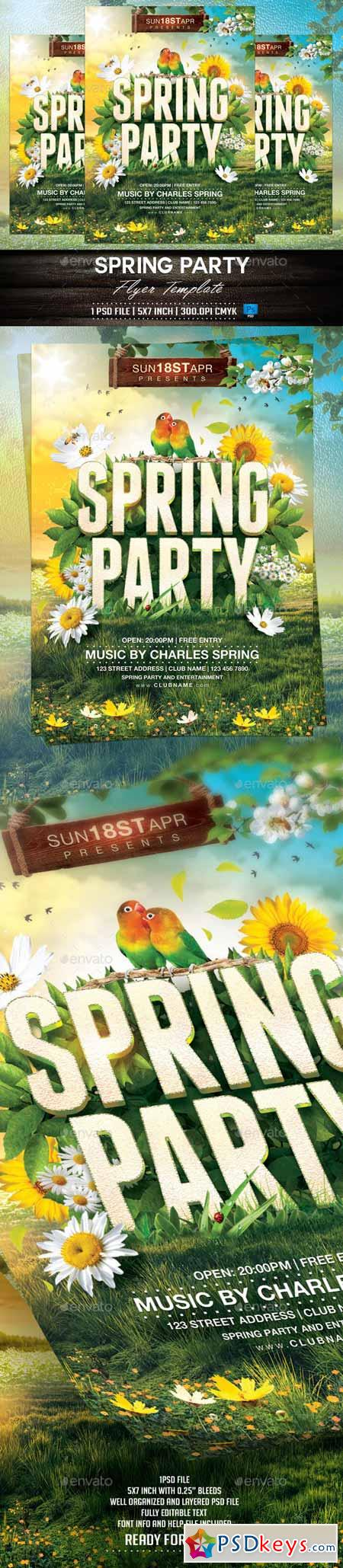 Spring Party Flyer Template 10489214 Free Download Photoshop – Spring Party Flyer