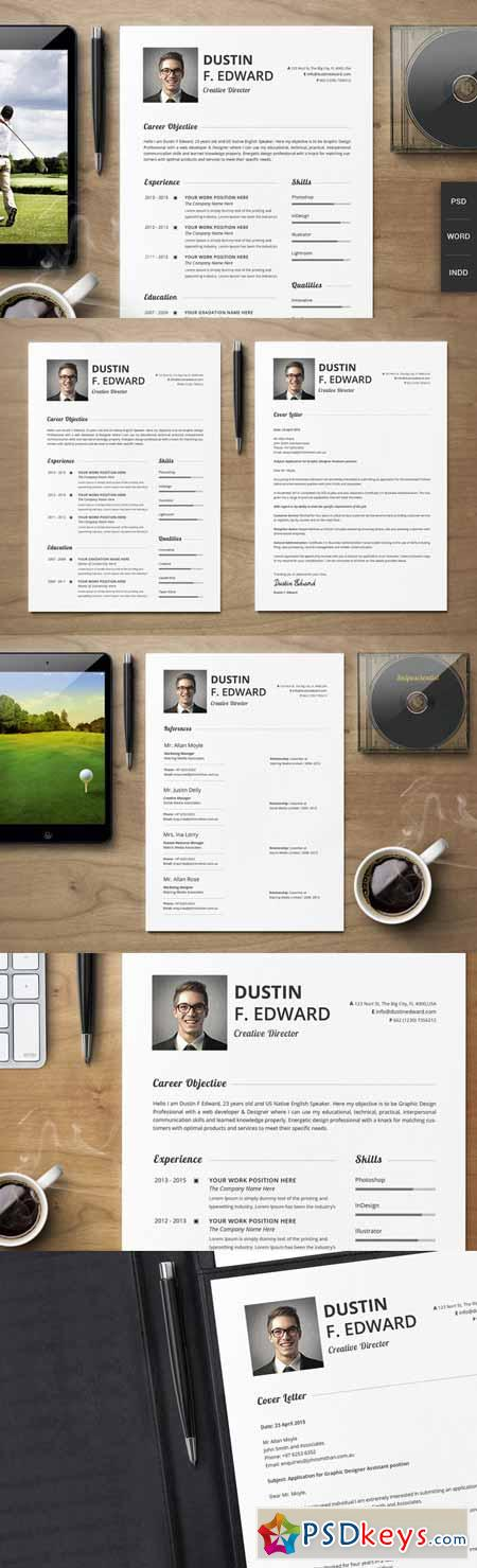 premium resume cv template set 198765 free download photoshop