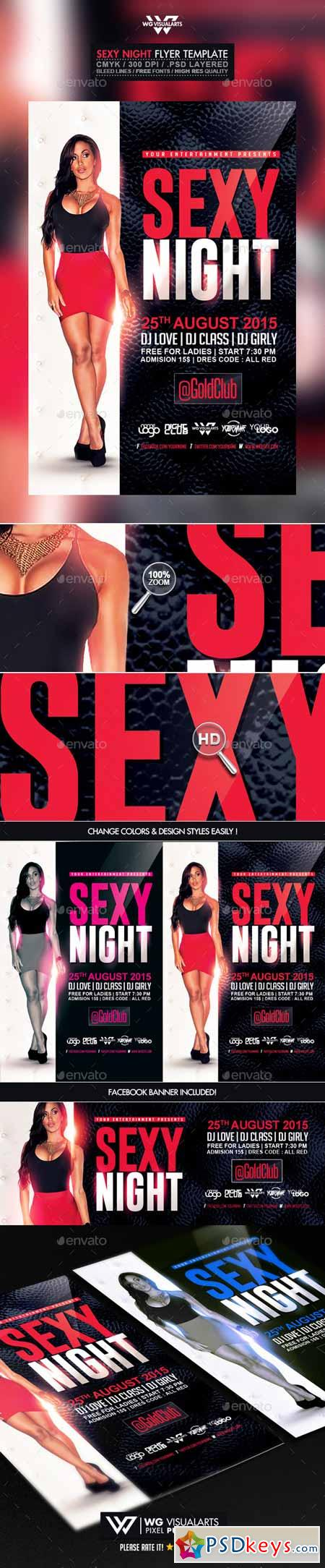 Sexy Red Black and White Night Flyer Template 10492537