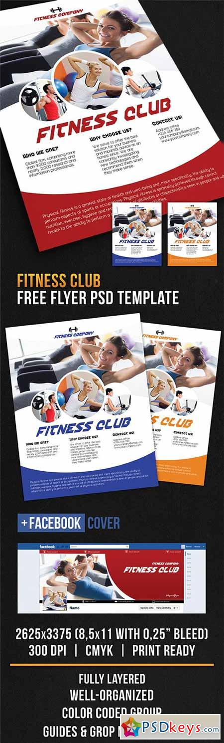 Fitness club – Flyer PSD Template + Facebook Cover