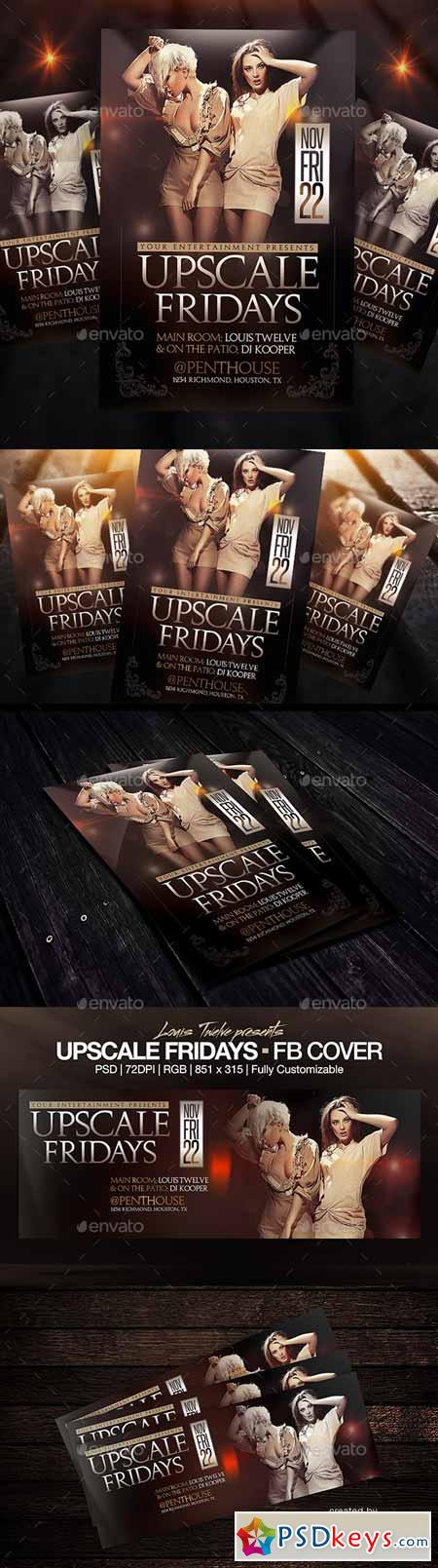 Upscale Fridays Flyer + FB Cover 9110906