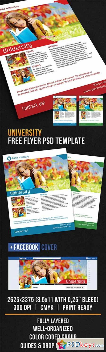 University – Flyer PSD Template + Facebook Cover
