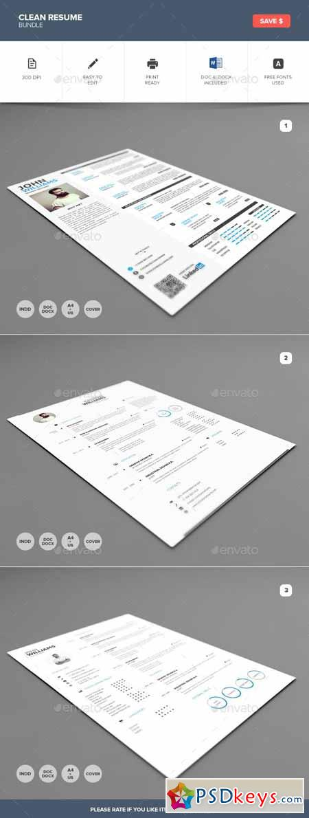 Clean Resume Bundle 10487979
