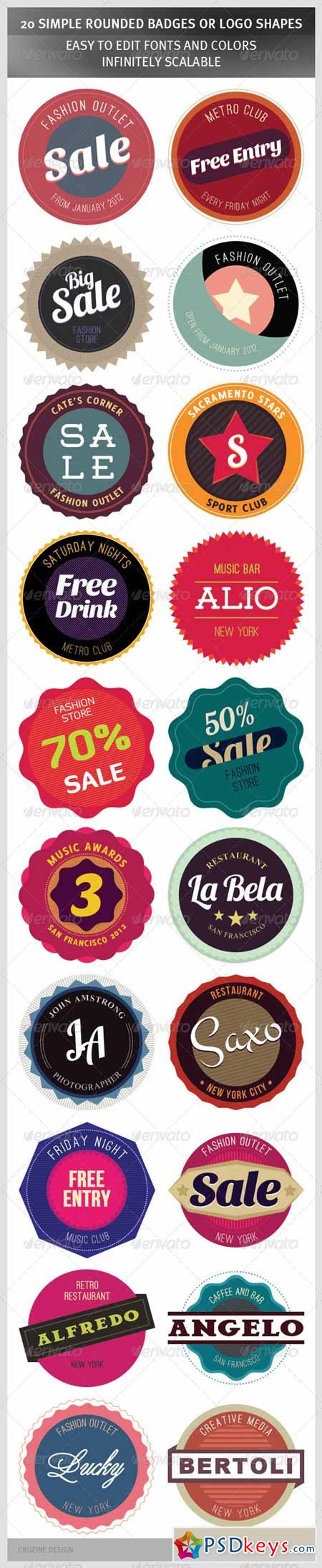 20 Simple Rounded Badges or Logo Shapes 1320108
