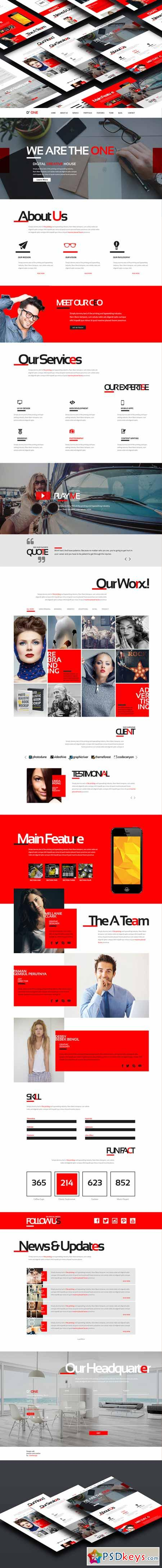 D One - Creative Agency Onepage PSD 213744