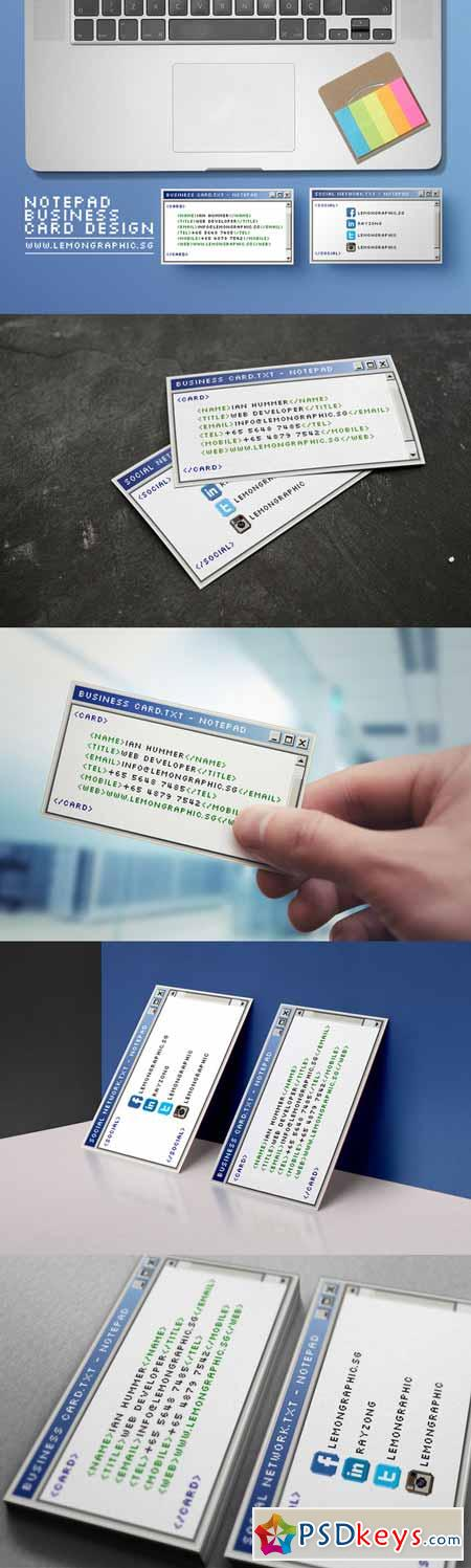 Notepad programmer business card 213653 » Free Download Photoshop ...