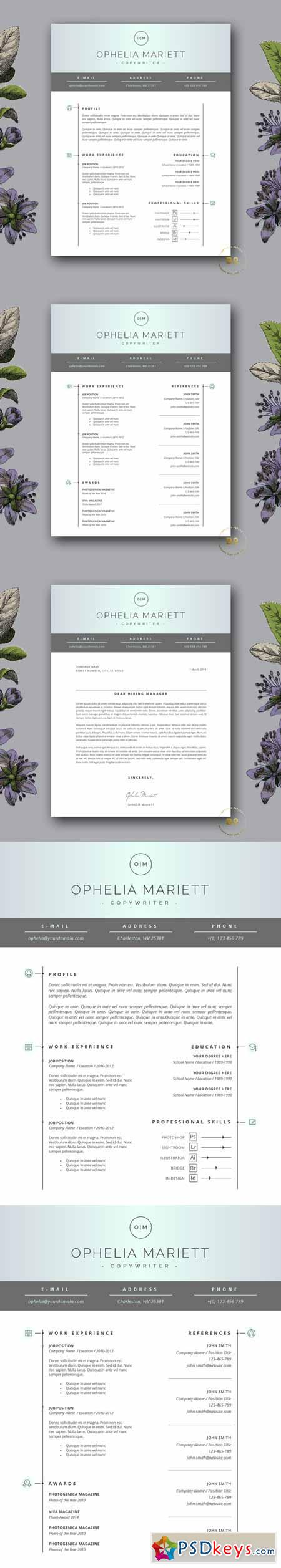 Modern Resume Template Cv Design   Free Download Photoshop