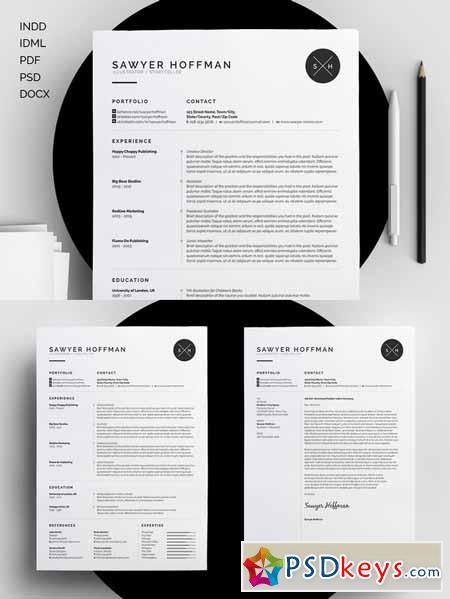 resume cv sawyer 213836 free download photoshop vector stock