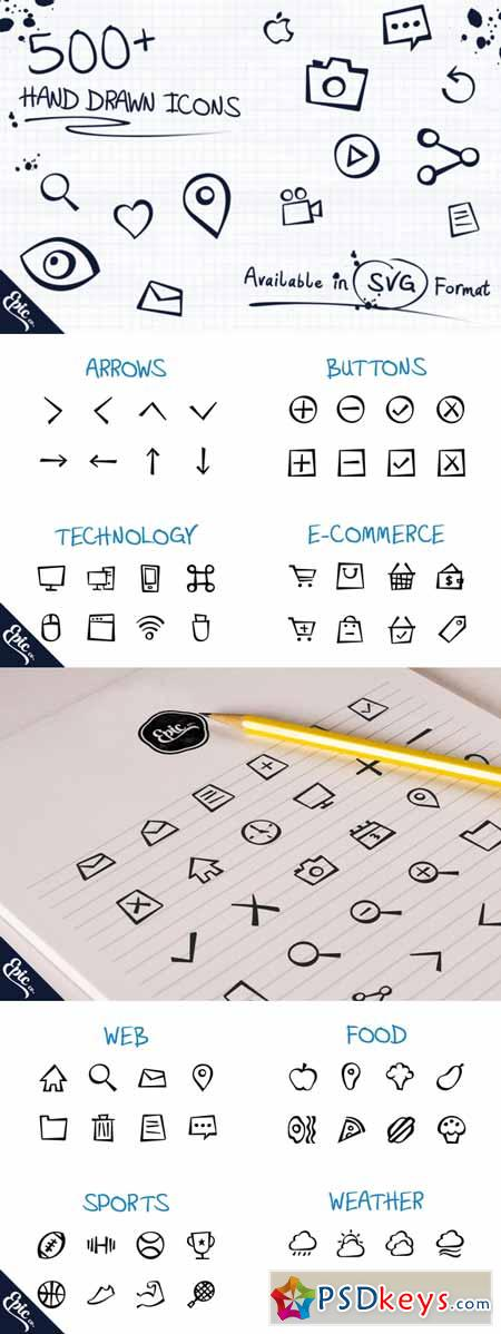 500+ Epic Hand Drawn Icons 101698