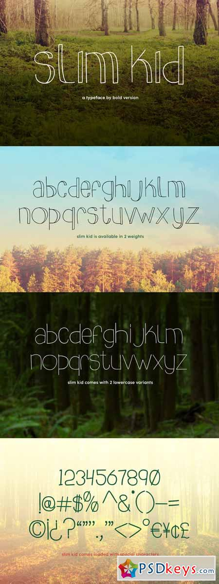 Slim kid typeface 216695
