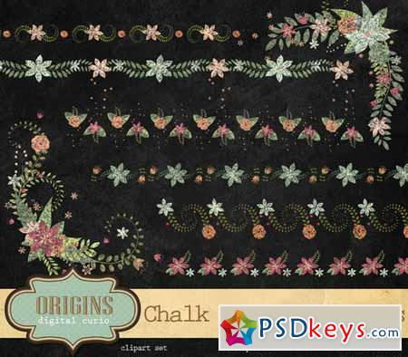Chalk Floral Borders and Corners 203167