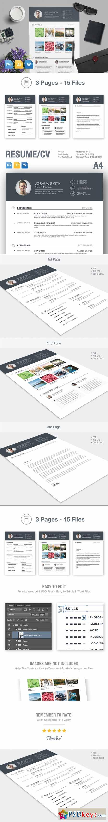 resume  u0026 cv template ai psd docx 217037  u00bb free download