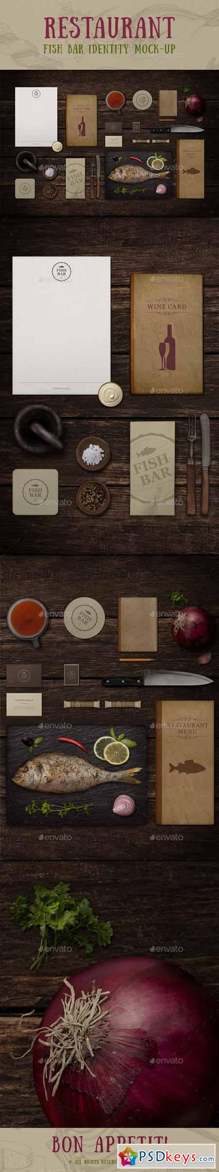 Restaurant Fish Bar Identity Mock-up 10734264