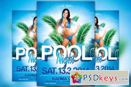 Pool Party Flyer Template   Free Download Photoshop Vector