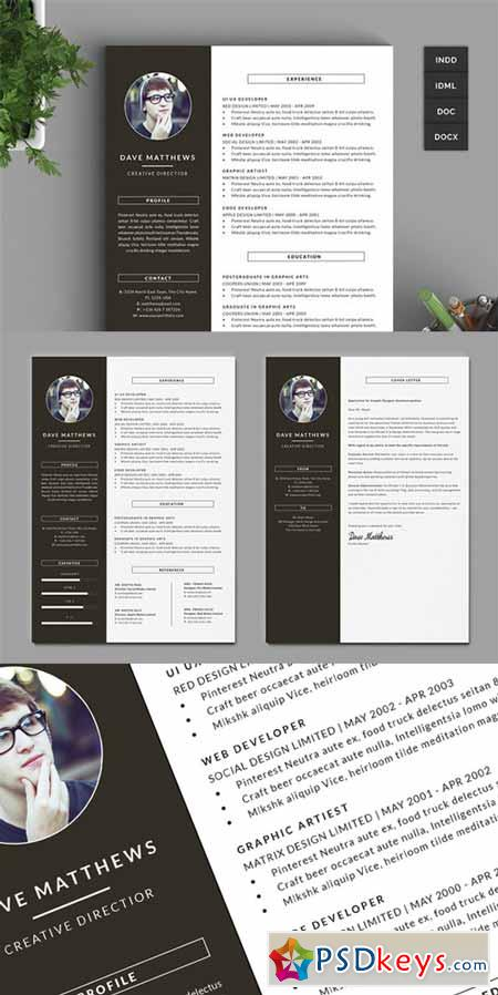 Hipster Resume CV with Cover Letter 219359