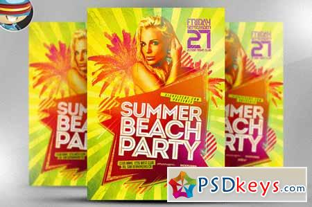 Summer Beach Party Flyer Template   Free Download Photoshop