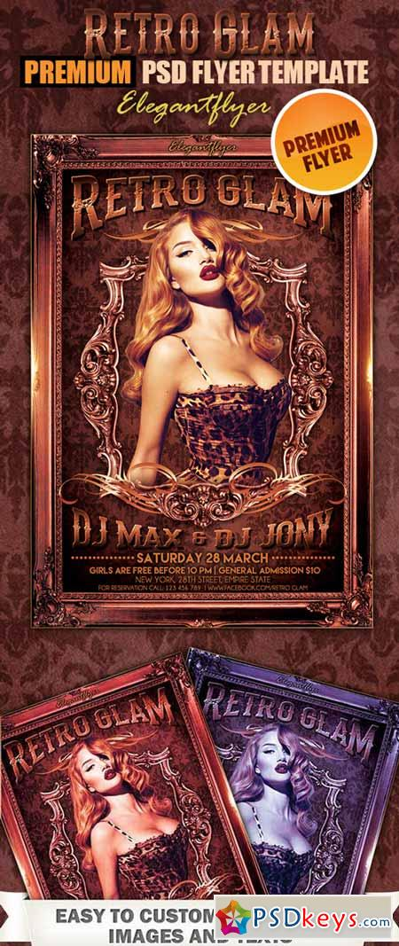Retro Glam Flyer PSD Template + FB Cover