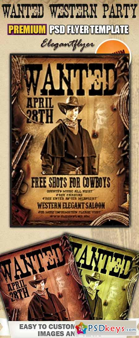 Wanted Western Party PSD Flyer Templates + FB Cover