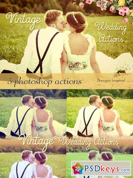 5 Vintage Wedding Photoshop Actions 94248