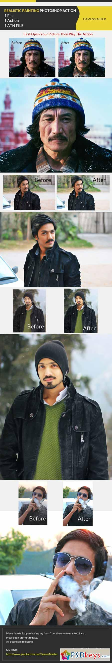 Realistic Painting Effect Photoshop Action 10721323