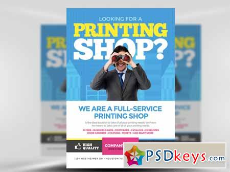 Printing Services Flyer Template Free Download Photoshop Vector