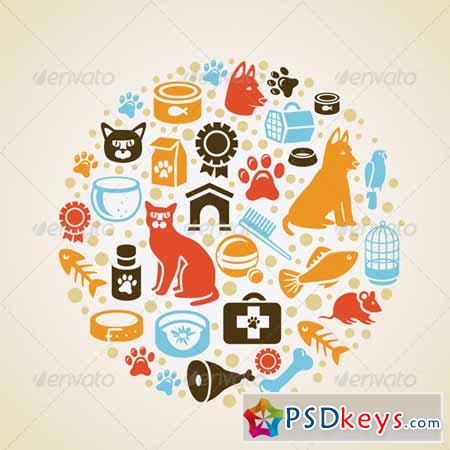 Vector concept with cat and dog icons 3146098
