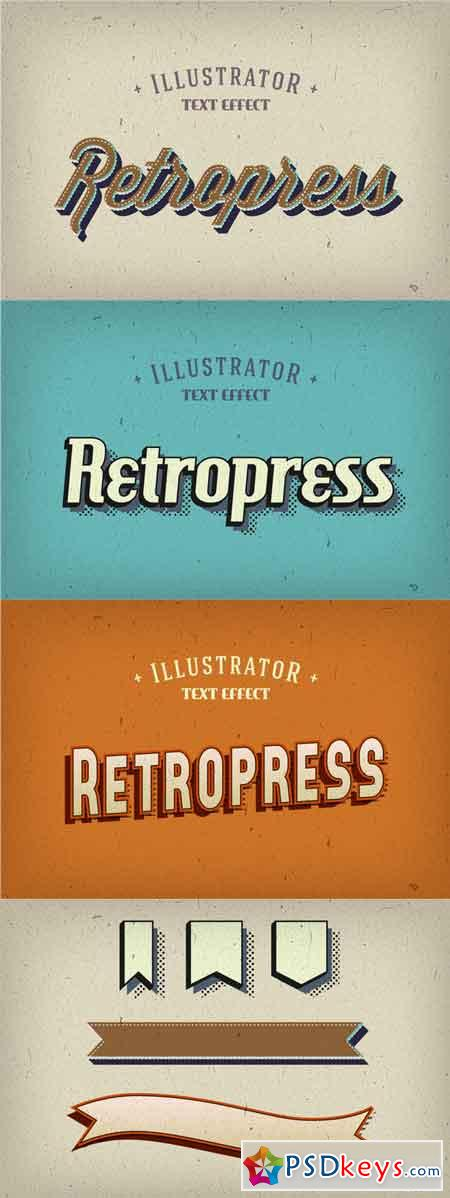 Retropress Illustrator Text Effects 223569