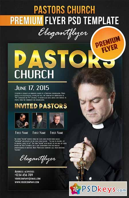Pastors church flyer psd template facebook cover for Free church flyer templates photoshop