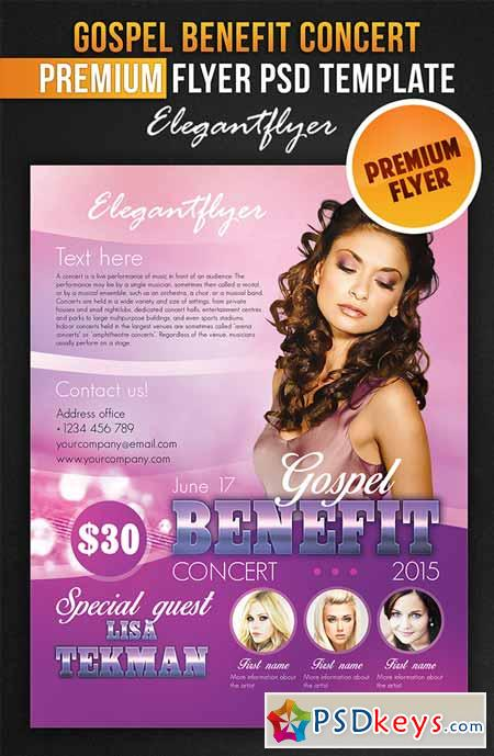Gospel Benefit Concert – Flyer Psd Template + Facebook » Free