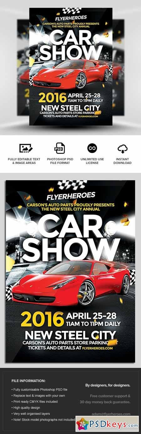 Car Show Flyer Template » Free Download Photoshop Vector Stock