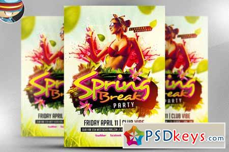 Spring Break Party Flyer Template 28180 Free Download Photoshop