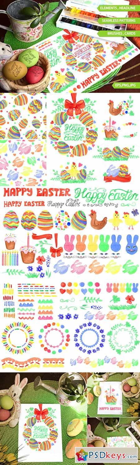 Easter Watercolor big set.Vector 222731