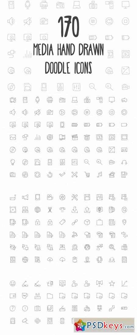 170 Media Hand Drawn Doodle Icons 160805