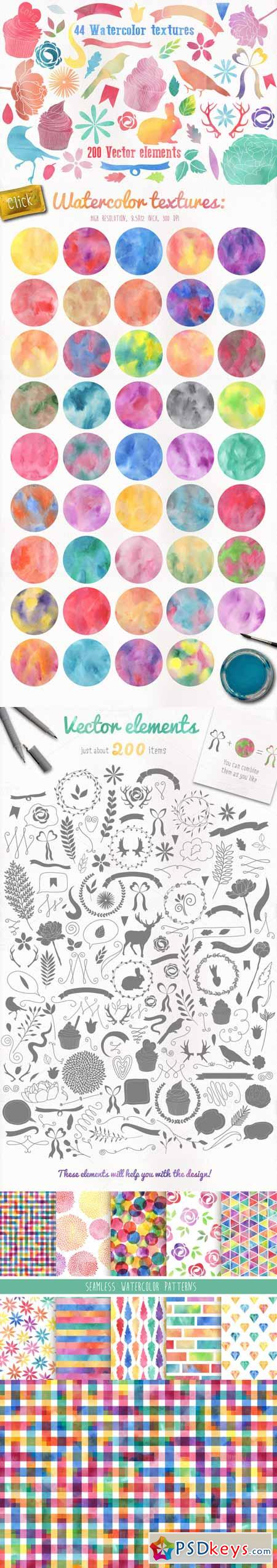 Watercolor pack + BONUS 105680