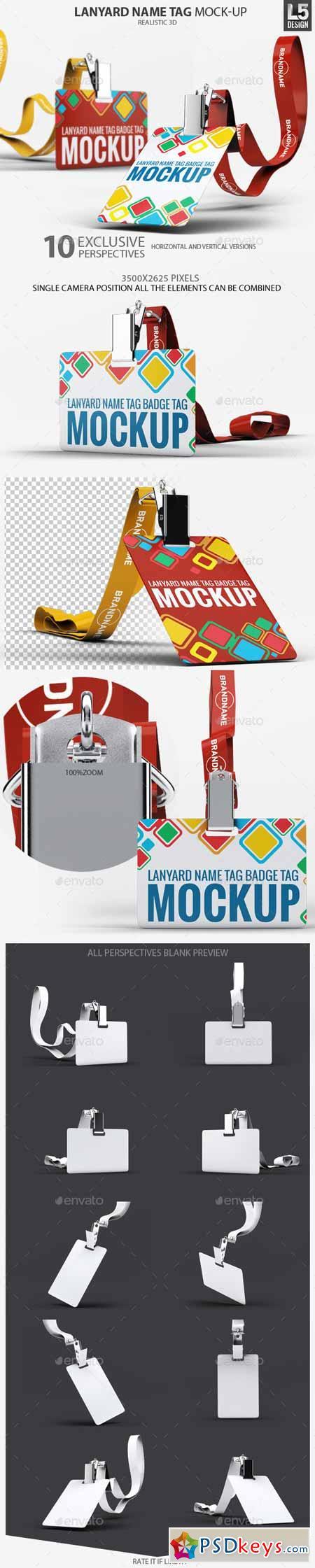 Lanyard Name Tag Badge Mockup 10855578