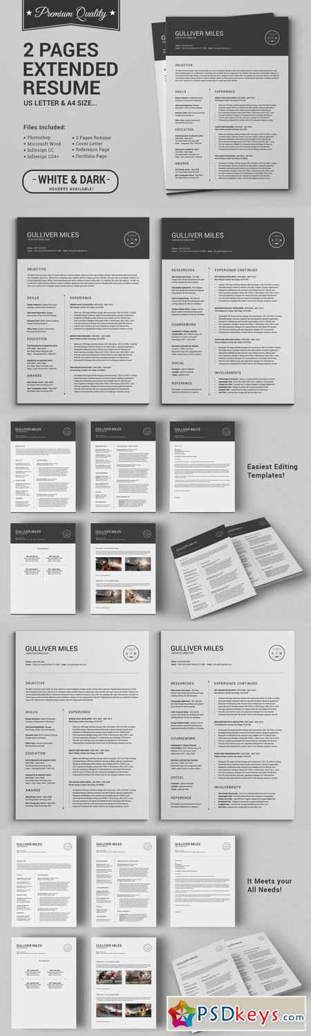 2 Pages Resume CV Extended Pack 237937