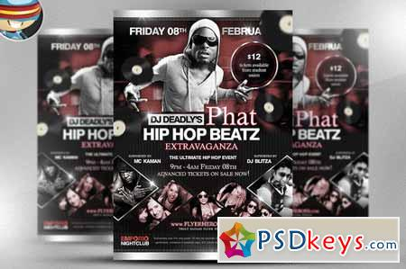 Phat Beatz Hip Hop Flyer Template 17519 Free Download Photoshop