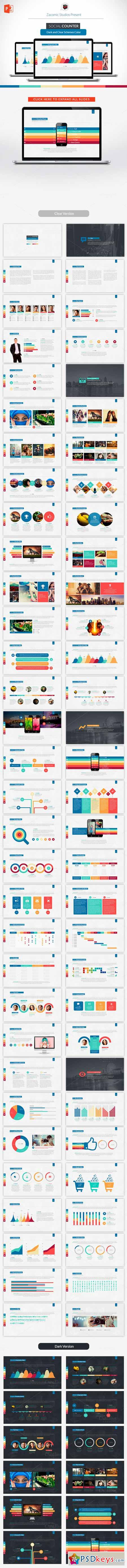 Social Counter Powerpoint Template 248565