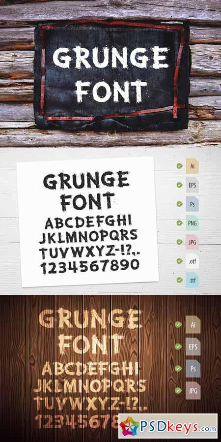 Grunge Letters and Numbers 250690