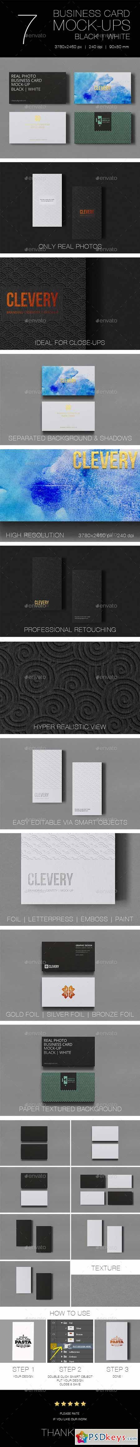 Photorealistic Business Card Mockup Black & White 10962076