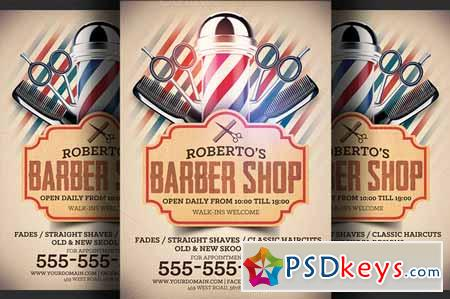 Barber Shop Flyer Template 254925 » Free Download Photoshop Vector ...